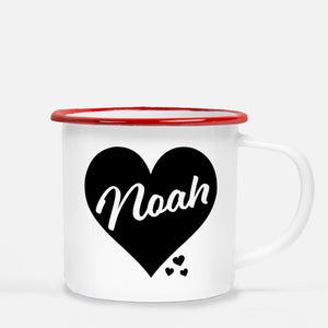 White enamel 12 oz metal camp mug with red lip | Big Heart - Black  | Personalized with childs name | Valentine's Day gift