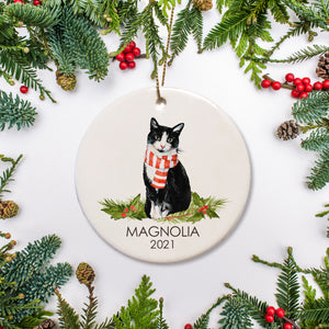 Personalized round ceramic Christmas ornament |Black and white Manx/American short hair cat with scarf | Pipsy.com