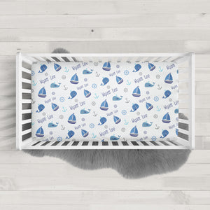 Boats and Whales personalized crib sheet | Pipsy.com
