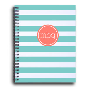 Bold Stripe Initial notebook  in Aqua and coral | PIPSY.COM