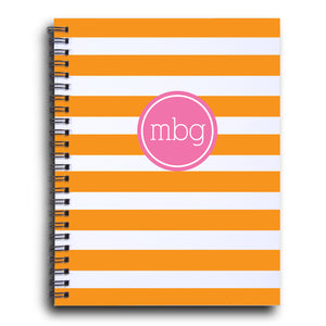 Bold Stripe Initial notebook  in Tangerine and Pink | PIPSY.COM