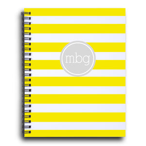 Bold Stripe Initial notebook  in sunshine and smoke | PIPSY.COM