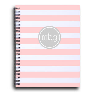 Bold Stripe Initial notebook  in ballet | PIPSY.COM