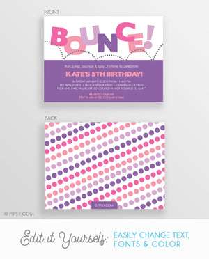 Bounce Birthday Invitations, Pink & Purple (Printable DIY)