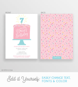 pink sprinkles birthday cake party invitation, 2 sided design