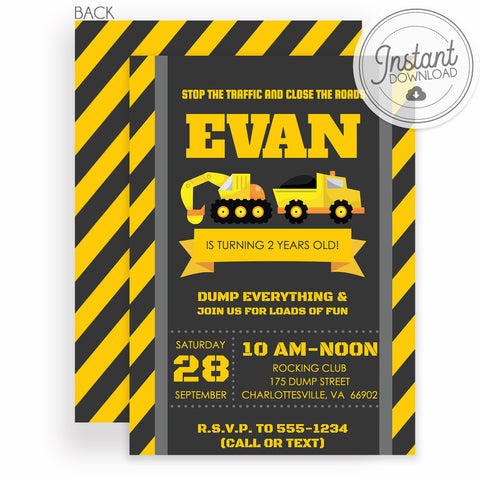 Construction Birthday Invitation, Instant Download Templett, Backhoe, Dumptruck, PIPSY.COM