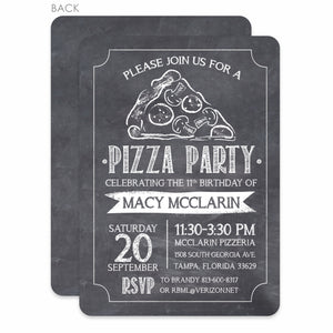 Pizza Party Invitation, Chalkboard Design, PIPSY.COM