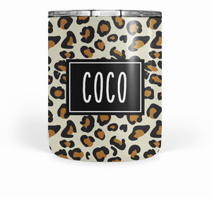 LEOPARD 10 OUNCE STAINLESS STEEL TUMBLER, PIPSY.COM