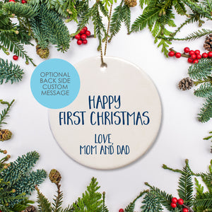 Personalized round ceramic Christmas Ornament