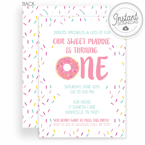 ONE donut first birthday invitation with pink sprinkles | PIPSY.COM