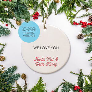 Personalized text keepsake ornament | Round Ceramic