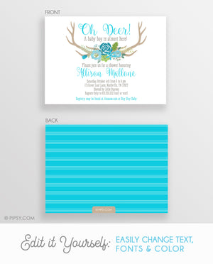 Oh Deer! Baby Shower Invitation, Boy (DIY Printable)