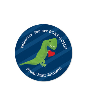 Dinosaur, T-Rex Valentine's Day Class Stickers - You are ROAR-SOME