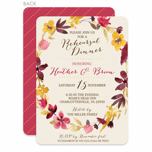 Dried Flower Watercolor Rehearsal Invitation | Swanky Press | Warm Reds and Yellows