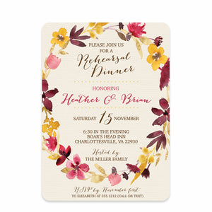 Dried Flower Watercolor Rehearsal Invitation | Swanky Press | Front