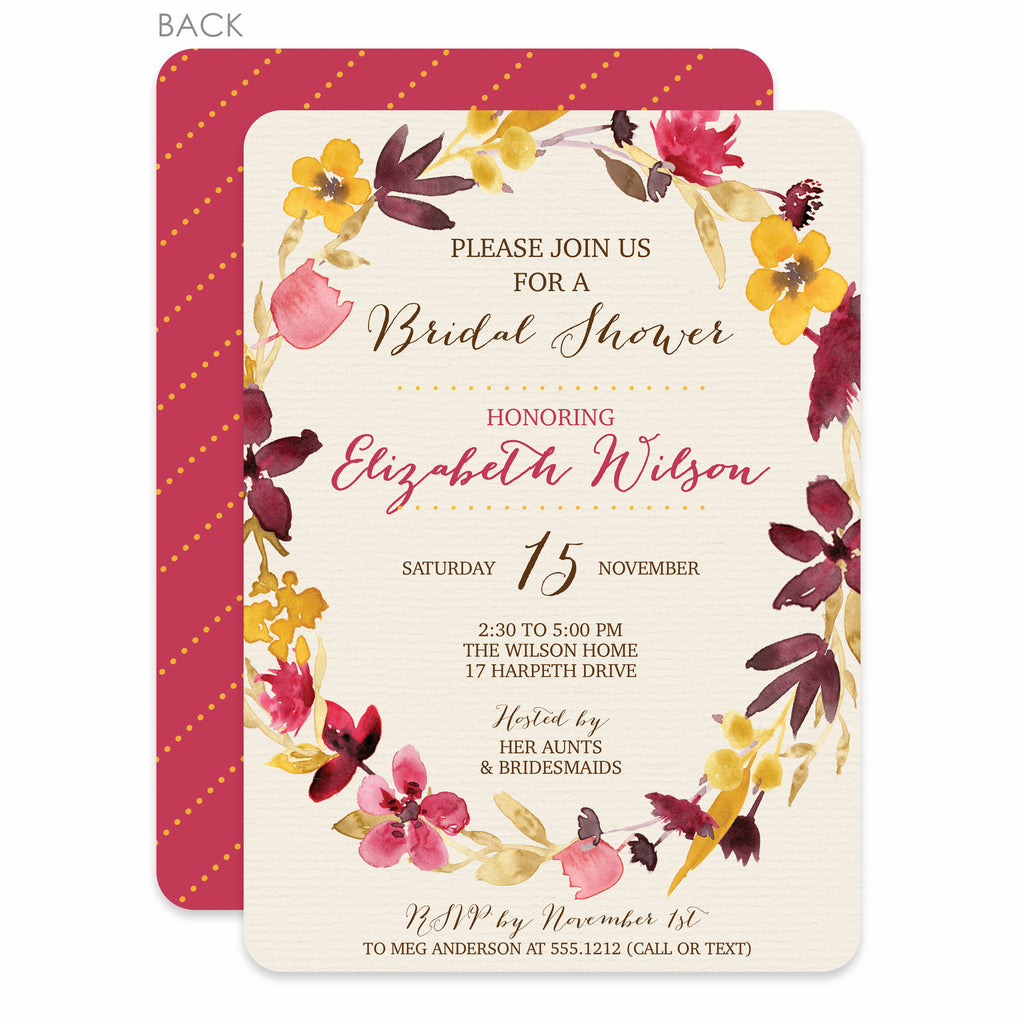Bridal Shower Watercolor Dried Flower Invitation