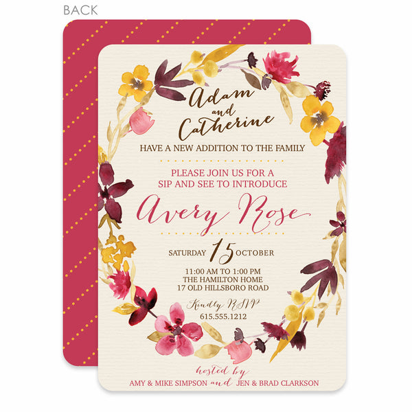 Floral Wreath Sip and See Invitation | Swanky Press