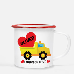 Personalized Camp Mug - white ceramic 12 oz metal mug  with red lip | Great for kids | yellow and orange dump truck | Valentine's Day gift | Loads of love