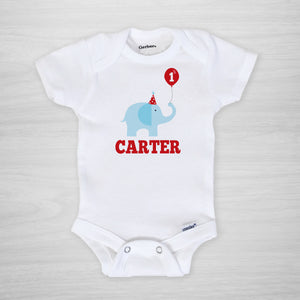 First Birthday Personalized Gerber Onesie, elephant with party hat balloon, short sleeved, Pipsy.com