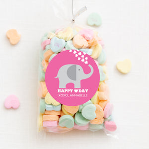 "Elephant Valentine's Day Stickers, Pink with Hearts | 2.5"" Round Valentine's Day Sticker for candy bag 