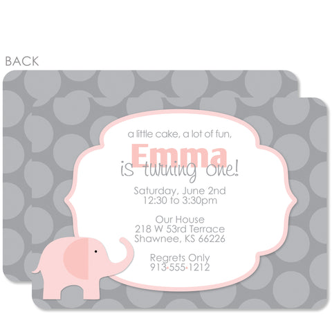 Elephant Birthday Invitations, Pink (Printed)