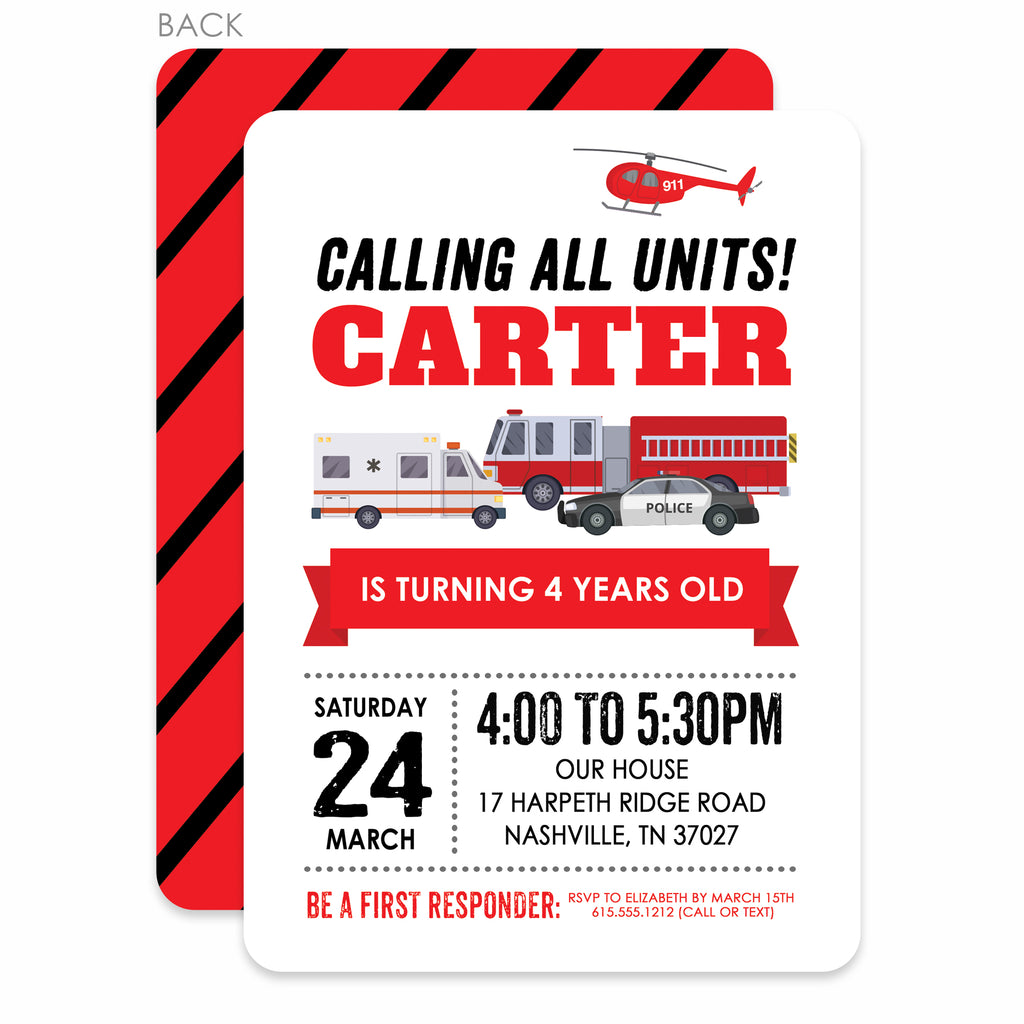 Emergency Vehicle Birthday Invitations (Printed) – Pipsy