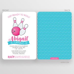 Bowling Birthday Party Invitations, Girl (DIY Printable)