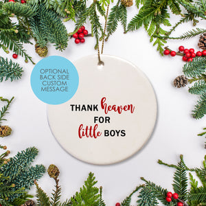 Personalized round ceramic keepsake ornament