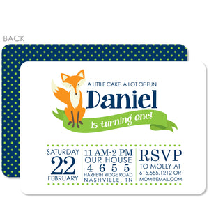 Fox Birthday Invitation | Swanky Press | Blue