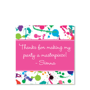Pink Art Splatter Party Cardstock Gift Tag | Swanky Press | Front