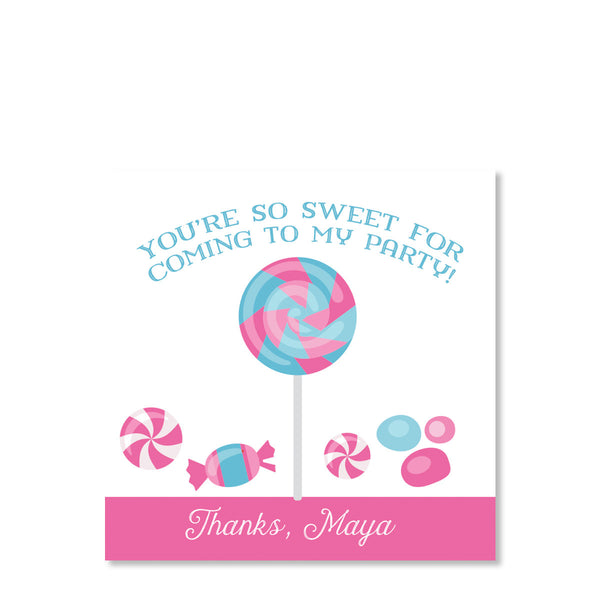 Candy Party Cardstock Favor Tags | Swanky Press | Front