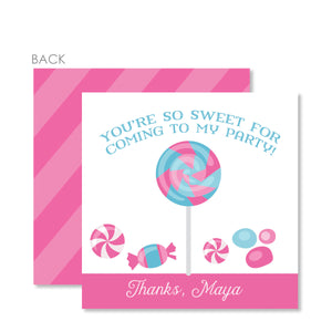 Candy Party Cardstock Favor Tags | Swanky Press | Pink