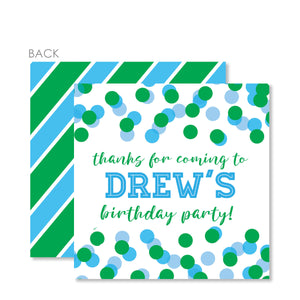 Confetti Party Cardstock Favor Tag | Swanky Press | Blue & Green