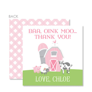 Farm Party Cardstock Favor Tag, Pink (Printed)