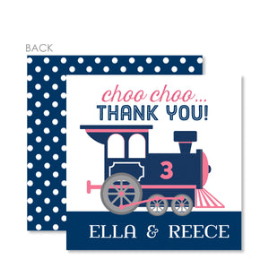 Train Party Favor Tags, Pink and Blue