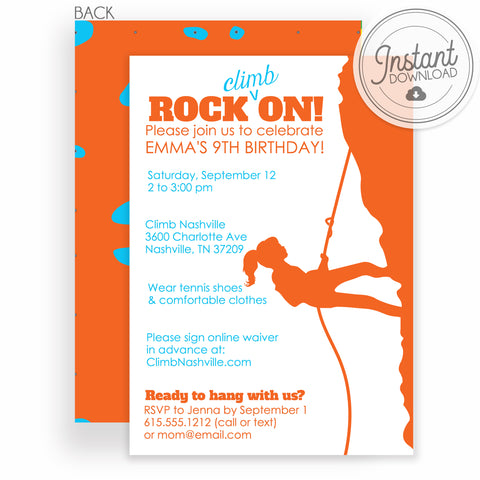 Girl rock climbing birthday invitation, DIY Instant Download Editable, Templett, PIPSY.COM