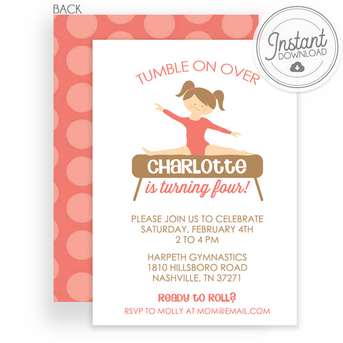 Gymnastics Girl Birthday Invitation | Edit the colors yourself | Templett Invitation | PIPSY.COM