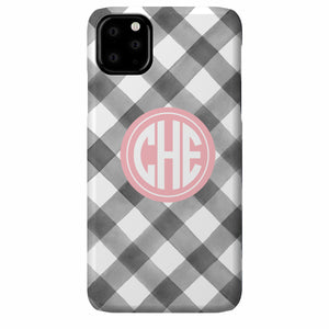 Gingham Watercolor iPhone Case (Gray)