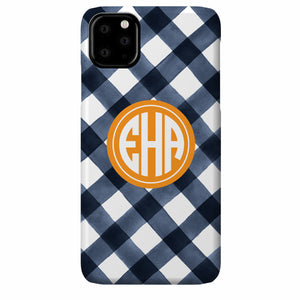 Gingham Watercolor iPhone Case (Navy)
