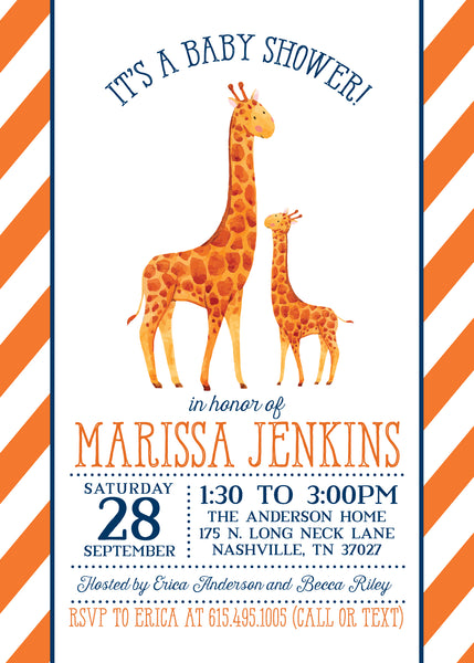 Giraffe Baby Shower Invitation | Pipsy.com | front image