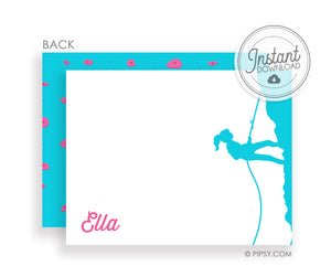 Girl Rock Climbing Party Thank You Notes | PIPSY.COM | DIY Templett