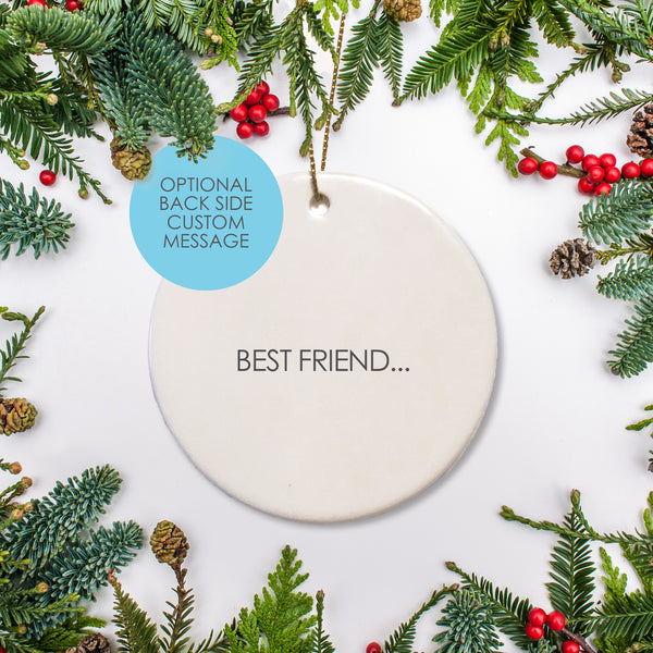 Personalized round ceramic holiday ornament