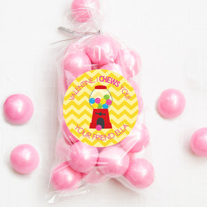 "Valentine, I CHEWS you! | bubble gum machine | 2.5"" round stickers for candy bags 