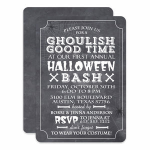 Ghoulish Good Time Halloween Invitation | Chalkboard Style Invite | Printed | PIPSY.COM