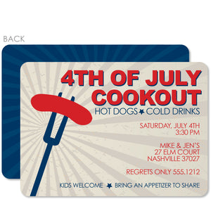 4th of July Invitation, Backyard Grilling, Hot Dog, PIPSY.COM