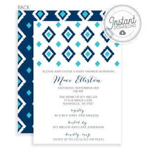 Ikat Baby Shower Invitation, blue (DIY Printable)