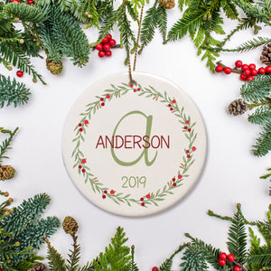 Initial Family of three first Christmas Ornament | Pipsy.com