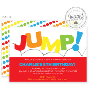 Jump Birthday Invitation | Templett Invitation | Instant Download | PIPSY.COM | Primary Colors