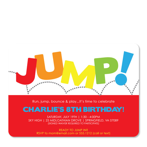 Jump Birthday Invitation | Swanky Press (front view)