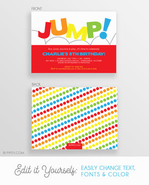 Jump Birthday Invitations, Red (DIY Printable)